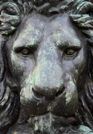 metal sculpture: A Closeup Of The Head Of A Bronze Statue Of A Lion Stock Photo
