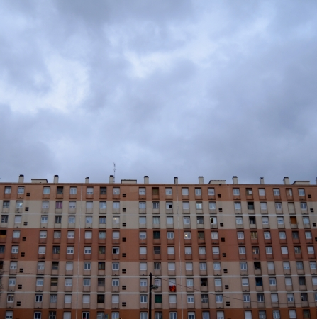social apartment: High Density Social Housing With A Grey Overcast Sky And Copy Space