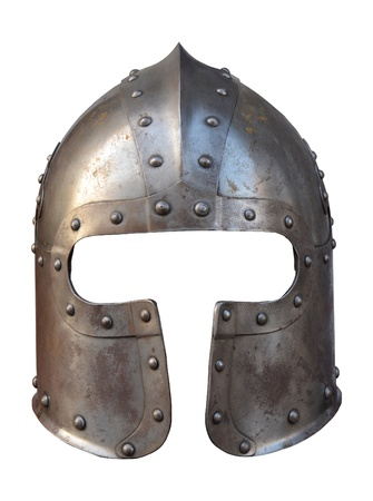 ancient warrior: Isolation Of The Helmet Of A Medieval Suit Of Armour On A White Background