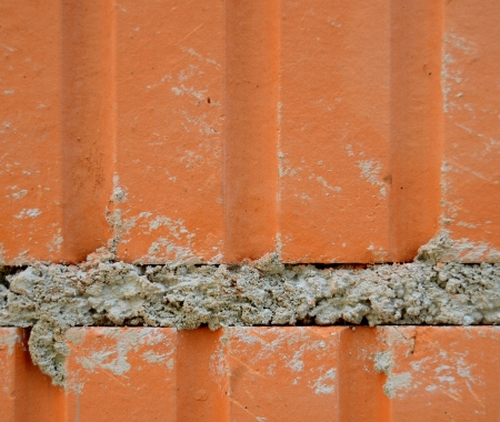 Construction Detail Of A Brick Wall With Mortar photo