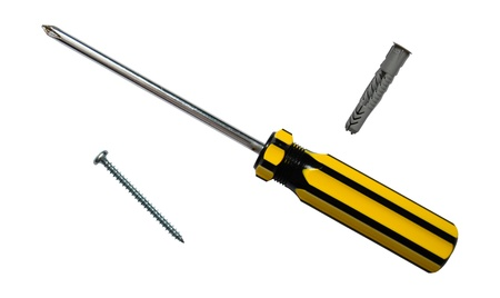 A Screwdriver, Screw And Screw Anchor Or Wall Plug photo
