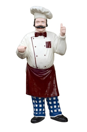 Isolated Plastic Model Of A Chef With Clipping Path photo