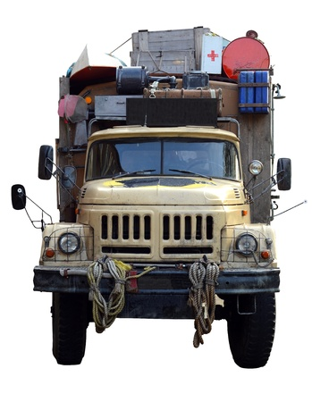 Isolation Of A Vintage Desert Expedition Truck photo