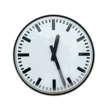 Isolation Of Grungy Station Clock With Clipping Path photo
