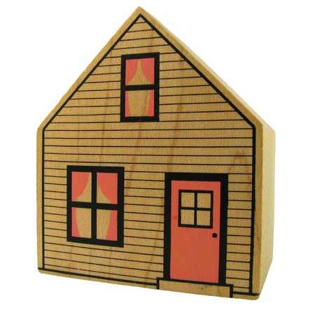Isolation Of A Toy Wooden House With Clipping Path photo