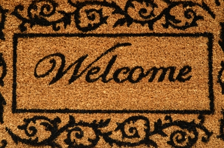 welcome sign: Conceptual Image Of A Welcome Door Mat
