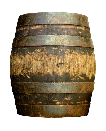 beer barrel: Isolated Of Vintage Grungy Old Wooden Beer Cask Or Barrel