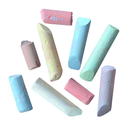 Isolation Of Grungy Broken Pieces Of Thick Colored Chalk