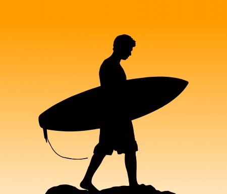 surf silhouettes: Silhouette di un surfista di trasporto la sua pensione a casa al tramonto Vettoriali