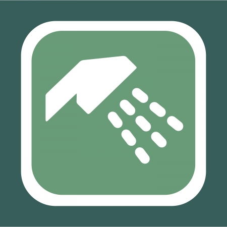 rinse: Symbol For A Shower With Green Background
