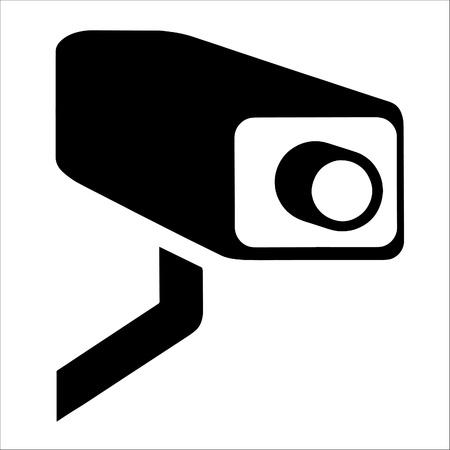 White Surveillance Camera  CCTV  Warning Sign Vector