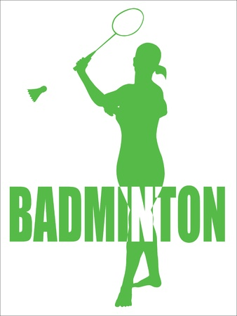 badminton sport symbol: Sports Vector Design Of A Woman Playing Badminton With Text  plain silhouette included