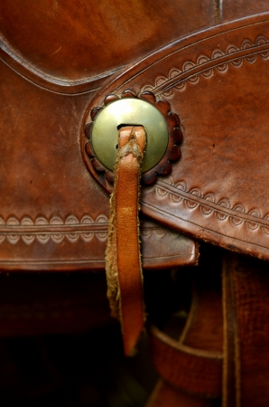 Detail Of Decoration On A Western Horse Saddle photo