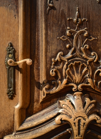Architectural Detail Of A Ornamental Wooden Door photo