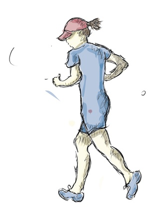 female athlete: A Sports Doodle Sketch Of A Woman Jogging