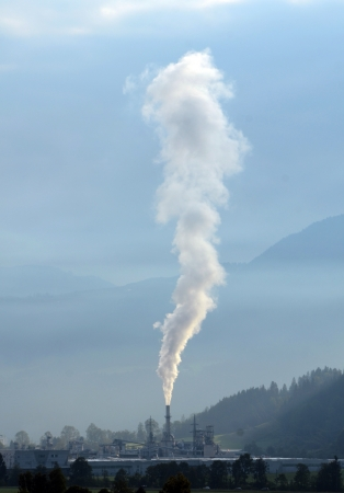 Industry Image Of Smoke Pollution From A Factory Or Power Station Chimney Stock Photo