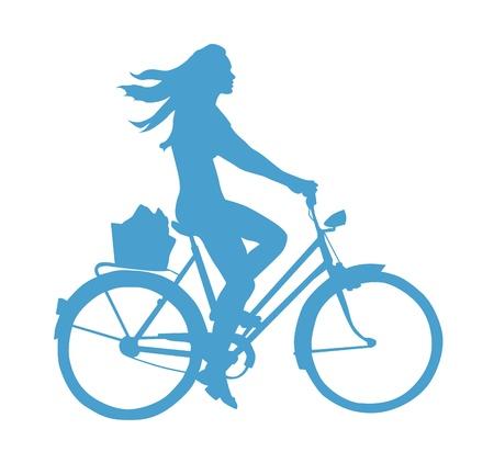 free riding: Lifestyle Silhouette di una ragazza su una bici