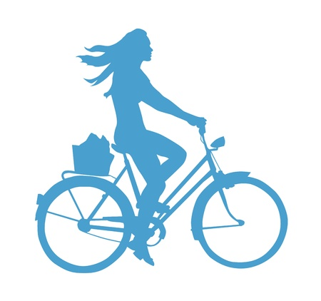 free riding: Lifestyle Silhouette Of A Girl On A Bike