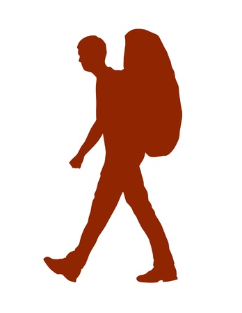 Vector Silhouette Of A Backpacker Or Hiker Vector Illustration