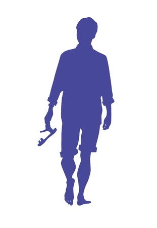 Conceptual Silhouette Of A Man Walking Barefoot On A Beach Carrying Filp-Flops Vector