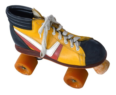 four wheel: Isolamento di un Retro Vintage Four Wheel Roller Skate