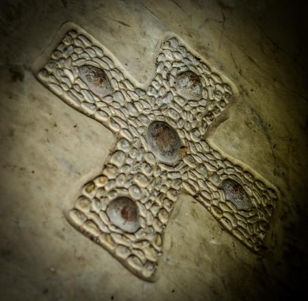 celtic cross: Ancient Celtic Cross On Stone Chapel Floor