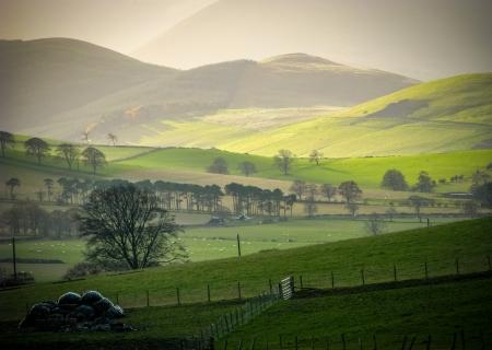 スコットランドの国境の農村部の丘の上の低い冬の太陽 写真素材