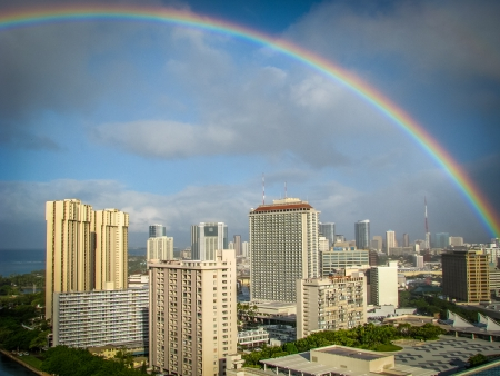 A Rainbow Over Downtown Honolulu, Hawaii photo