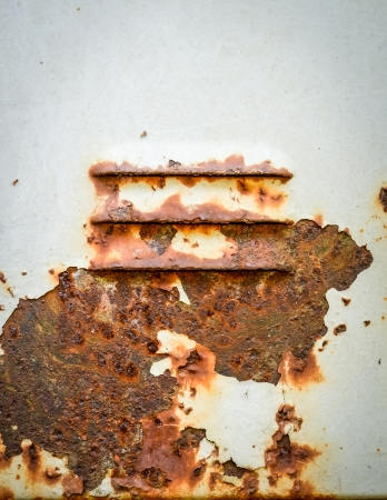 corroded: Detail Of Red Rust On White Painted Industrial Air Vent Stock Photo