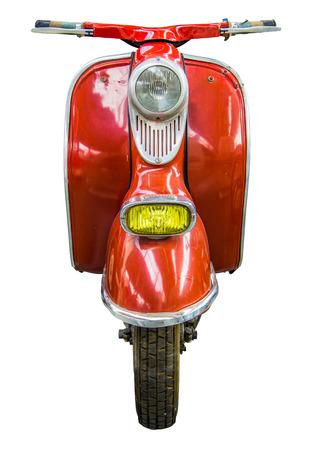 赤いビンテージ レトロな原動機付け自転車やスクーターの分離