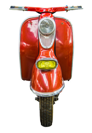 Isolation Of Red Vintage Retro Moped Or Scooter