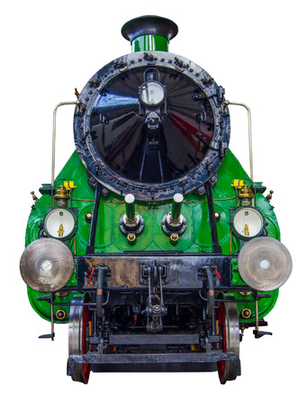 Isolation Of A Huge Green Vintage Steam Train photo