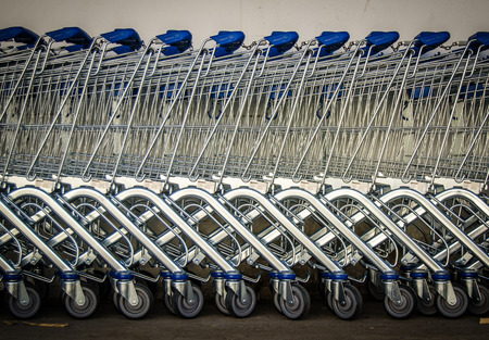 Retail Background Of A Row Of Shopping Carts photo
