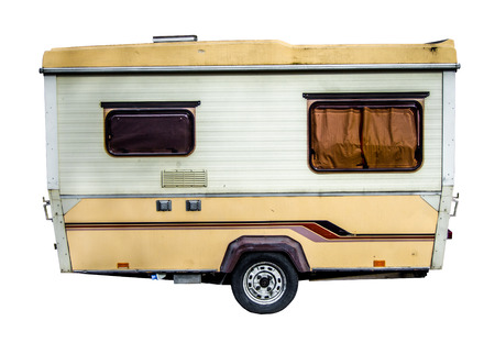 Isolation Of A Retro, Grungy 70s Caravan photo