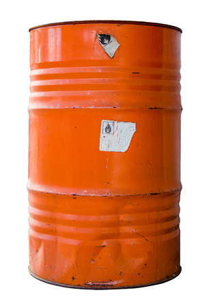 Isolated Oil Drum Or Barrel Of hazardous Waste WIth Warning Labels photo