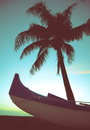 outrigger: Retro Styled Photo Of Outrigger Canoe And Palm Tree In Hawaii