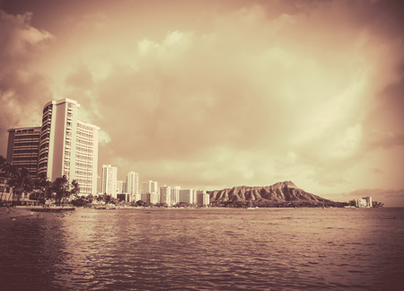 Retro Vintage Style Black And White Photo Of Waikiki Beach, Hawaii photo
