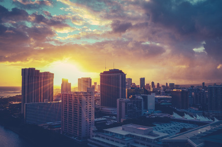 Vintage Retro Style Photo Of The Honolulu, Hawaii Cityscape