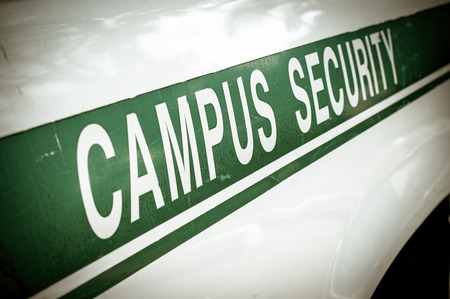 security laws: Retro Filtered Campus Security Sign