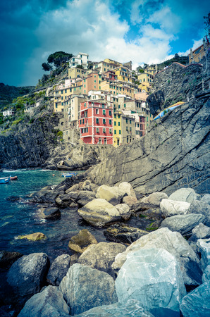 Retro Filtered Photo Of Riomaggiore Harbor In The Italian Riviera photo