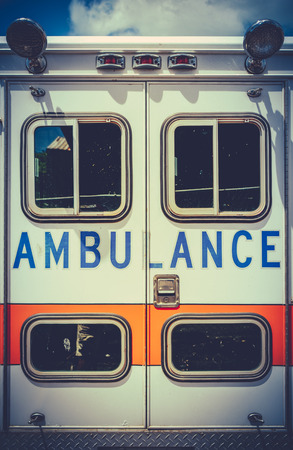 first responder: Retro Filtered Photo Of A Grungy Old Ambulance Stock Photo