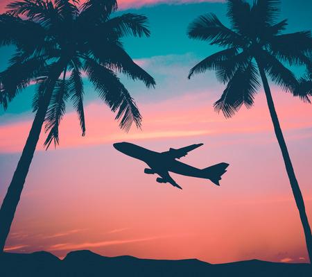 Retro Style Photo Of Plane Over Tropical Scene