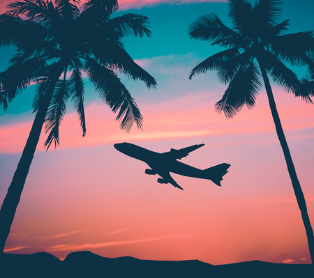 hawaii sunset: Retro Style Photo Of Plane Over Tropical Scene