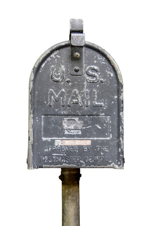 united states postal service: Isolation Of Vintage Old US Mail Post Box Stock Photo