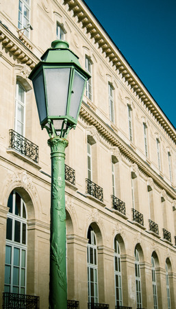 Green Lamp Post Beside Grand Majestic Palace In Marseille, France