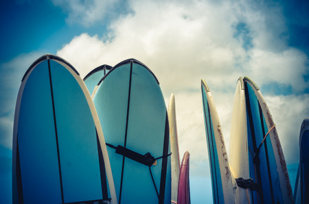 Retro Style Photo Of Vintage Hawaiian Surf Boards Foto de archivo