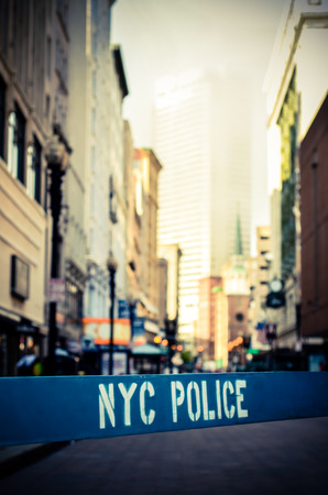 counterterrorism: Retro Style Photo Of A Poice Barrier At A Crime Scene In New York City Stock Photo