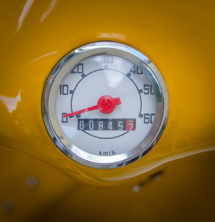 odometer: A Mustard Yellow Retro Vintage Moped Speedometer