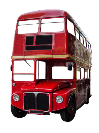 double decker: Isolated Vintage Red London Routemaster Double Decker Bus (With Clipping Path)