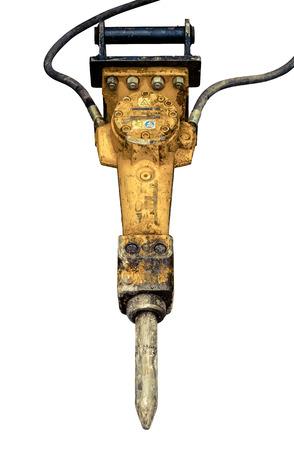 presslufthammer: Isolierte dreckige Jackhammer oder Presslufthammer oder Schlaghammer